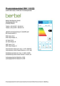 Produktdatenblatt berbel Inselhaube Ergoline BIH 110 EG
