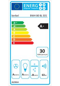 Energielabel berbel Wandhaube Blockline BWH 80 BL