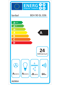 Energielabel berbel Einbauhaube Glassline BEH 90 GL