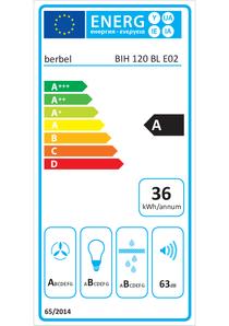 Energielabel berbel Inselhaube Blockline BIH 120 BL