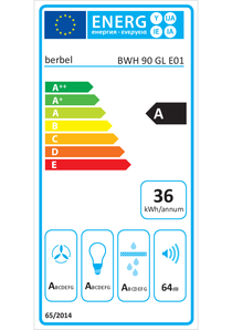 Energielabel berbel Wandhaube Glassline BWH 90 GL