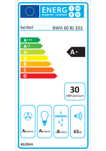 Energielabel berbel Wandhaube Blockline BWH 60 BL