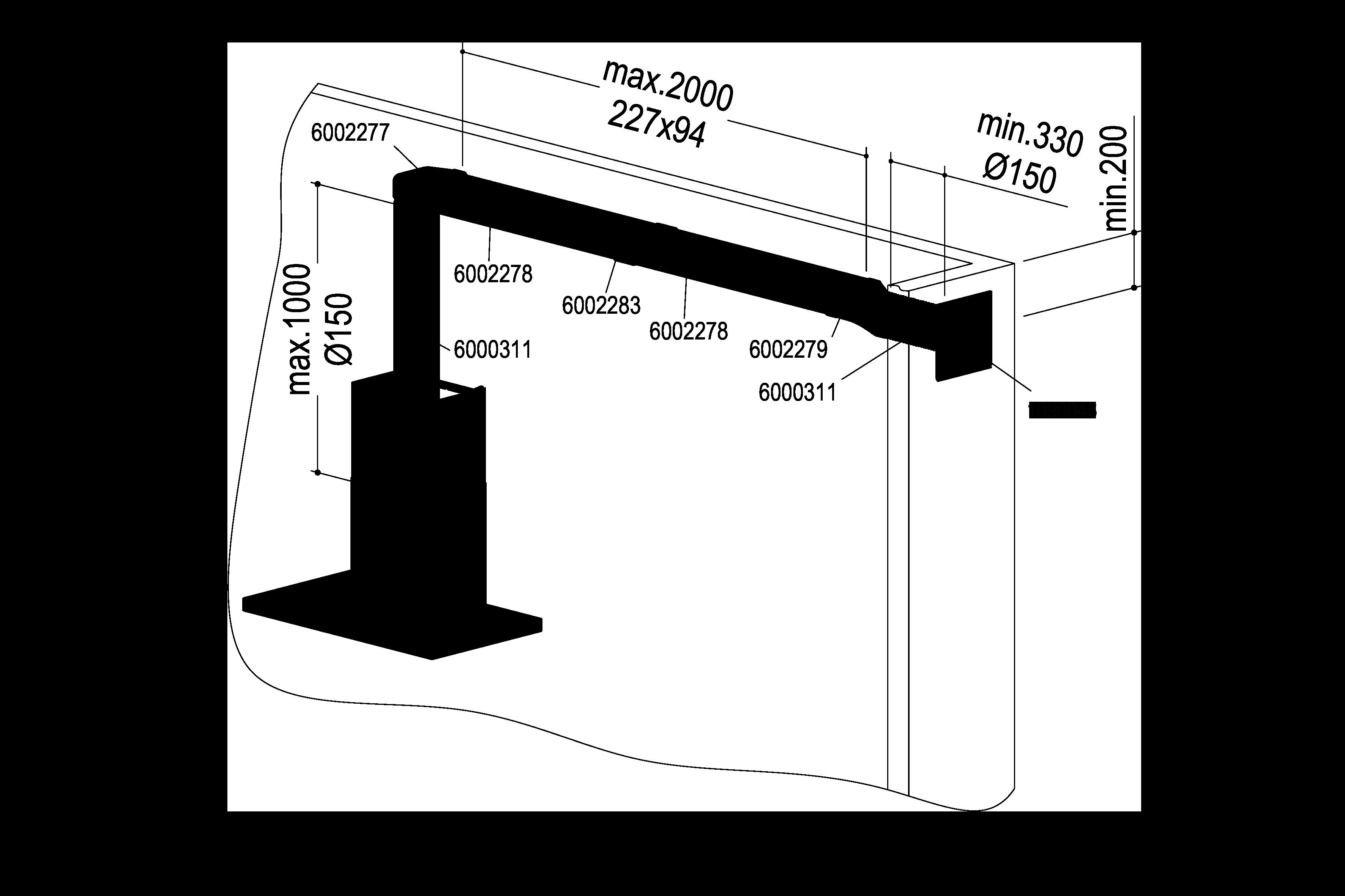 Abluft-Set III – <strong>Flach 150 bT doppelt</strong>